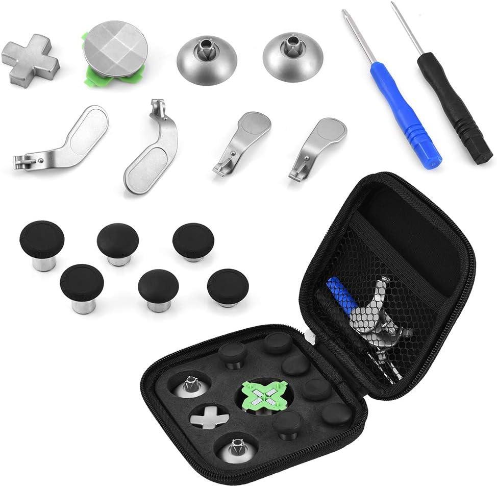 Zerone Kit de reemplazo del Controlador para PS4, 15 en 1 Thumb Stick Cap Botón magnético Palas Destornilladores Kit de Piezas de Repuesto para PS4 / Xbox One