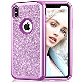 Maxdara Case for iPhone Xs Max Glitter Case Bling Sparkle Luxury Ultra Slim Silicone Case with Back Hard Durable 3 in 1 Full Body Protective Pretty Fashion Girls Cute XS Max Case 6.5 inches (Purple)