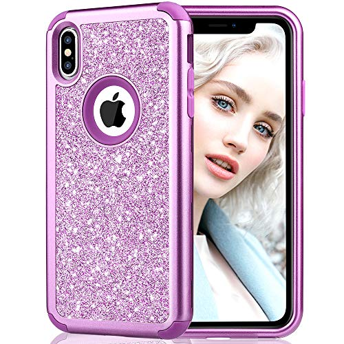Maxdara Case for iPhone Xs Max Glitter Case Bling Sparkle Luxury Ultra Slim Silicone Case with Back Hard Durable 3 in 1 Full-Body Protective Pretty Fashion Girls Cute XS Max Case 6.5 inch (Purple)