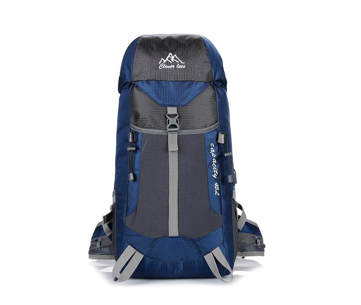 Mden Waterproof Reflective Backpack Travel Hiking USB Charging Port for Outdoors for Backpacker Trekking Camping Climbing(45L, Navy) [並行輸入品] B07R4T1C4Y