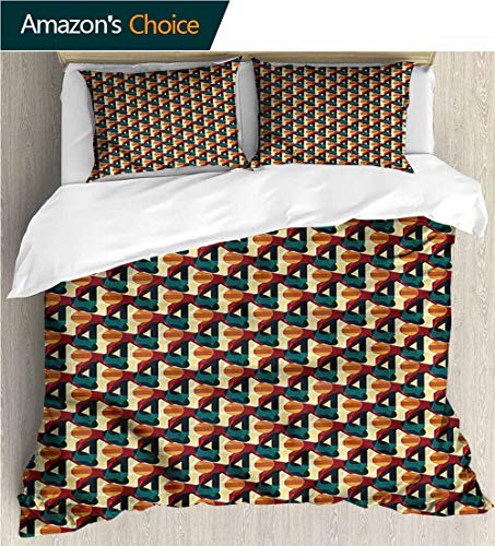 Style 3D Digital Print Bedding Sets,Box Stitched,Soft,Breathable,Hypoallergenic,Fade Resistant Print Duvet Cover Sets Soft Microfiber 3Pcs Quilt Cover-Abstract Polygonal Vivid Mesh (79