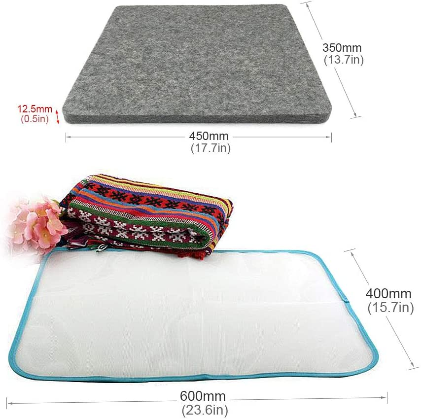 OeyeO Wool Ironing Pad, 8 x 8 x ½ Inch Thick Wool Pressing Mat for Quilting, 100% New Zealand Wool Ironing Board, Quilting Supplies and Notions 17.7*13.8