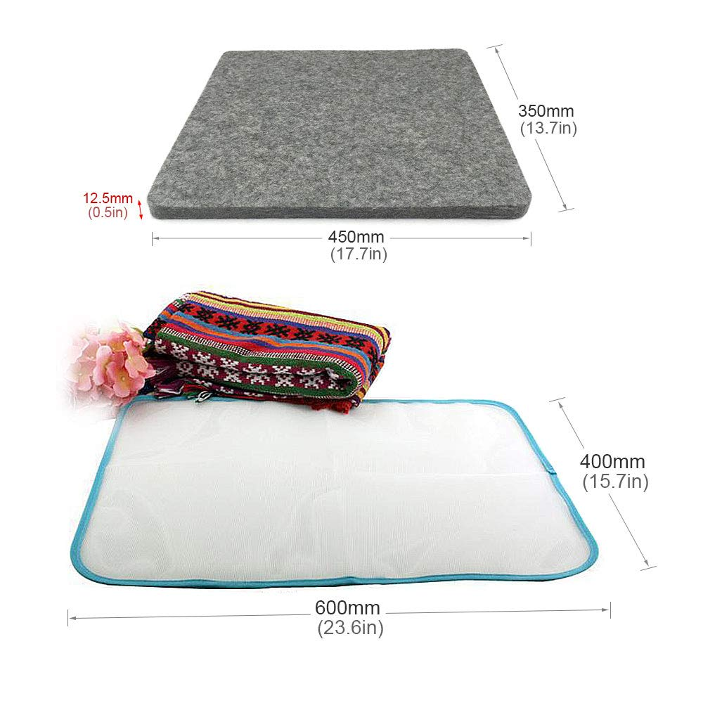 Gift2U Wool Pressing Mat Silicone Iron Rest Pad 17.7 x 13.8 x /½ Inch Thick Wool Pressing Mat for Quilting witn 2pcs Protective Ironing Pressing Pad