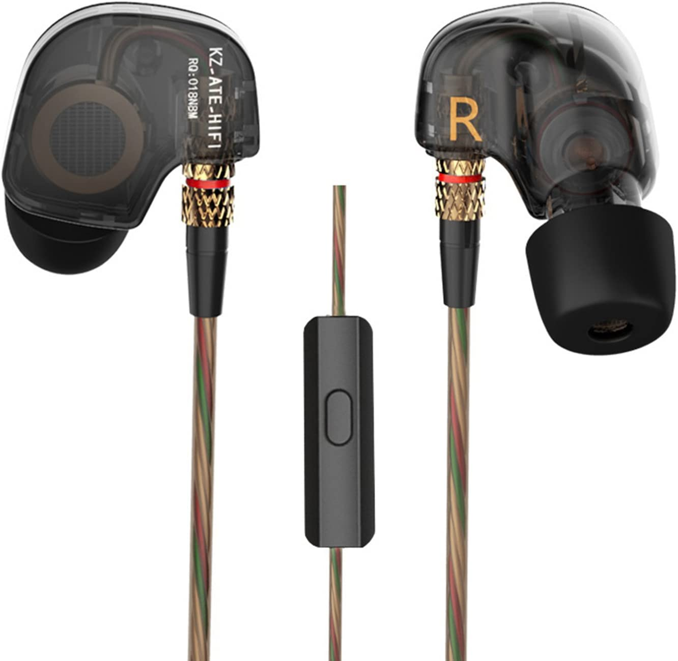 KZ ATE Dynamic Balanced Armature IEMS in Ear HiFi Monitors DJ Studio Stereo Music Earphones Headphone Earbuds for Mobile Phone iPhone MP3 MP4 Music Player (Black with Mic)