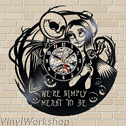 (The Nightmare Before Christmas Vinyl Wall Clock 12 in(30cm) Black Decor Modern Decorative Vinyl Record Wall Clock This Clock is A Unique Gift to Your Friends and Family for Any Occasion …)