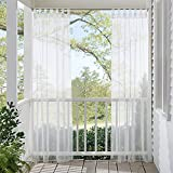 white outdoor curtains - RYB HOME Outdoor Indoor Voile Drape Panels Mildew Resistant Water Repellent Polyester Silver Tab Top Sheer Curtains For Porch, White