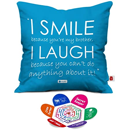 indibni Micro Satin; Fibre I Smile and I Laugh Quote Cushion Cover with Filler for Brother ; 12x12-inch; Blue Cushion Covers at amazon