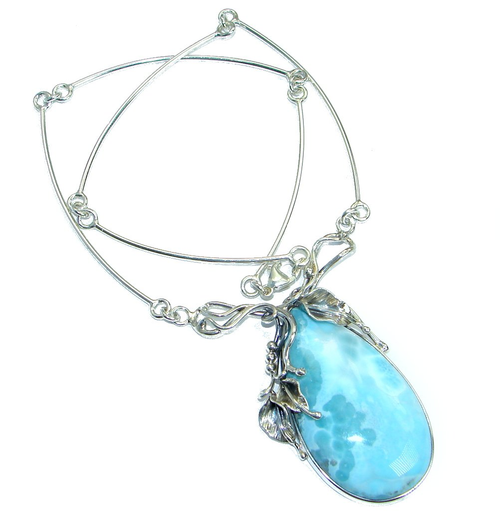 Larimar Women 925 Sterling Silver Necklace - FREE GIFT BOX