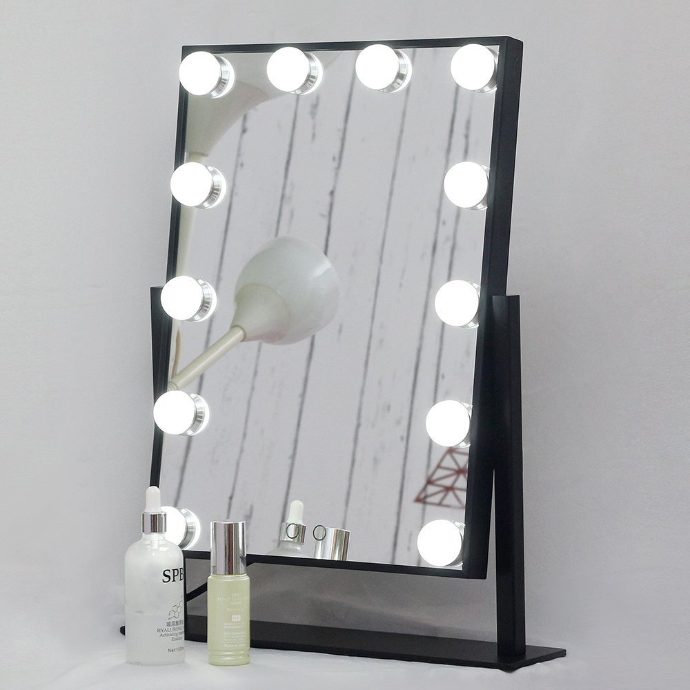 Aoleen Dimmable Hollywood Makeup Vanity Mirror with Light, Lighted Tabletop Mirror with LED Bulbs Two Kinds of Light Color Conversion (Black) luxi