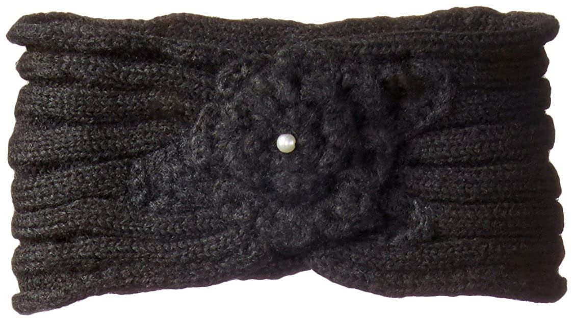 RAMPAGE Womens Rib Knit Flower Headwrap