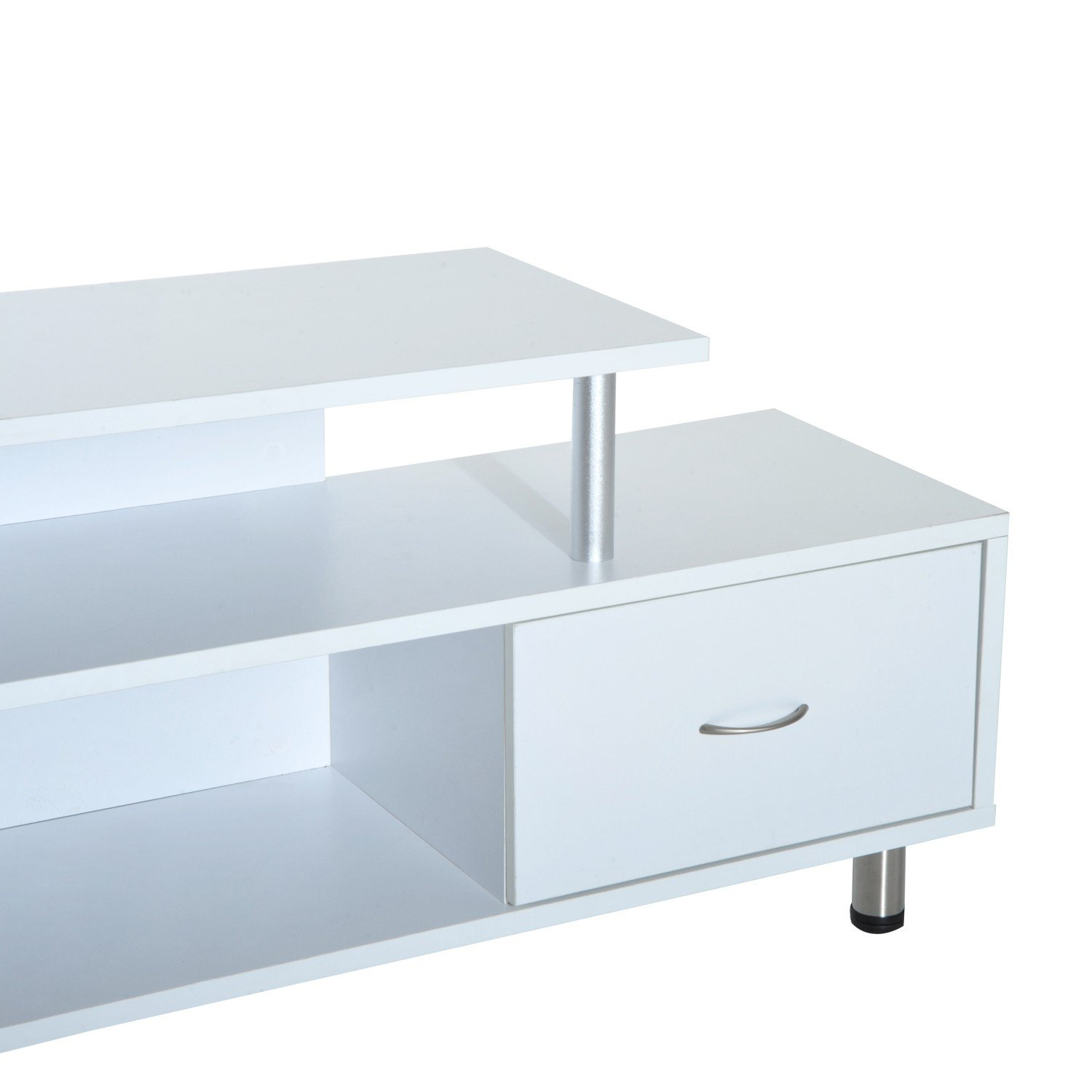 White TV Stand Flat Screen With Drawer And Open Shelf Display Unit Durable With Ebook
