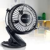OPOLAR F801B USB Operated Clip on Fan with Two Settings and Fully Adjustable Head Personal Cooling Fan