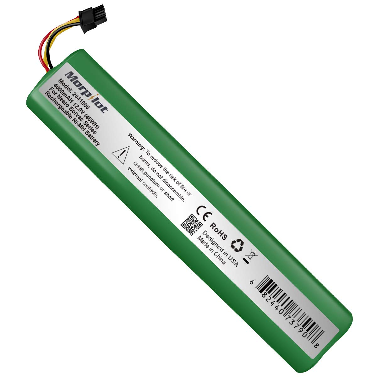 Morpilot 12V 4000mAh Extended NiMh Battery for Neato Botvac Series 70e, 75, 80, 85 Robotic Vacuum 945-0129 945-0174(Not compatible with Neato D3 D5 D7) by Morpilot