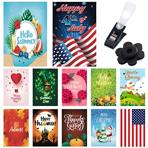 Seasonal Garden Flags 12 Pack - Bright and Shine - 12 Pack Set of 12x18 inch Small Holiday Yard Flags - Double Sided Design for All Seasons and Holidays - Premium Quality Durable Material]()