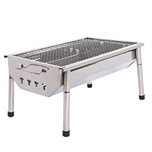 ISUMER Portable Thickened Stainless Steel Outdoor Charcoal BBQ Grill, Tabletop Cooking Charcoal Grill