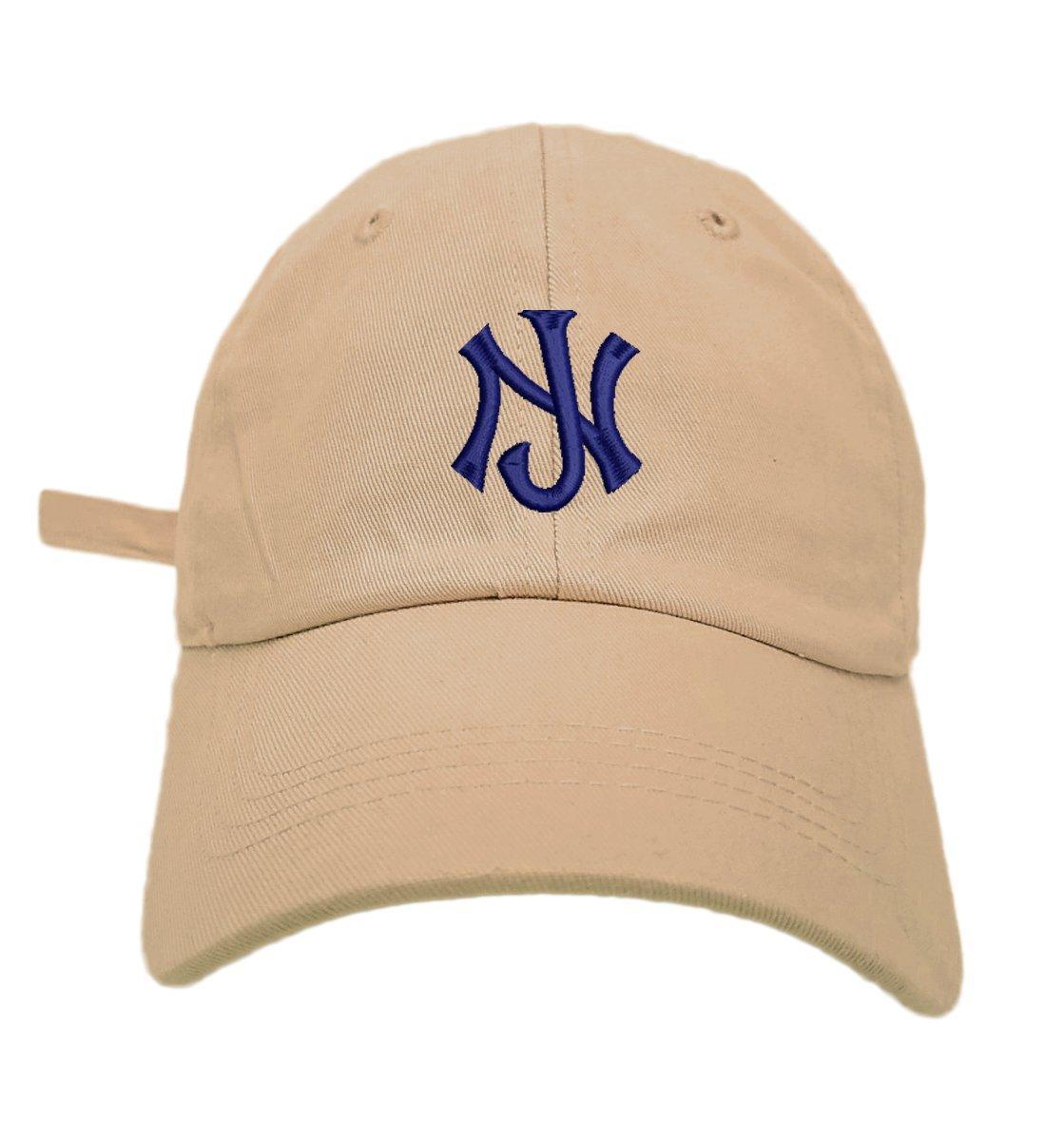 TheMonsta New Jersey Logo Style Dad Hat Washed Cotton Polo Baseball Cap (Khaki)