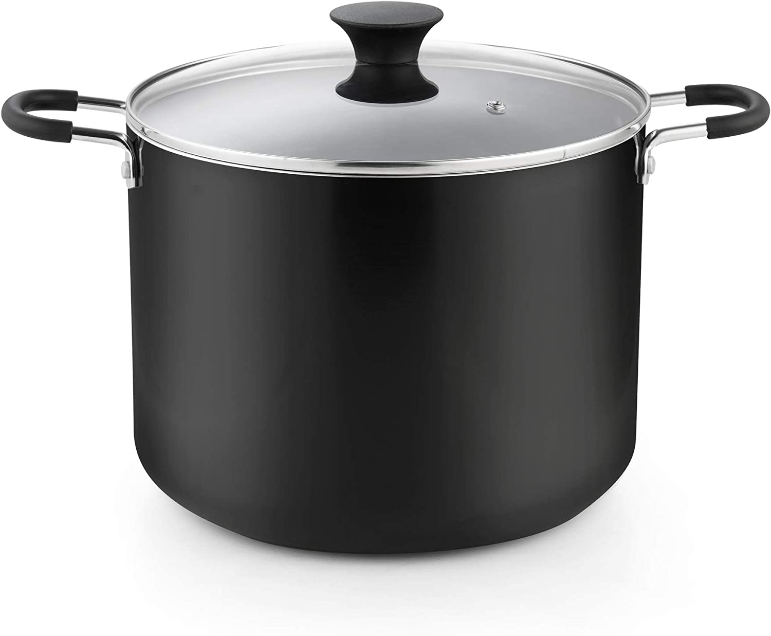 Cook N Home 02657 Nonstick Stockpot with Lid, 10.5 Quarts, Black