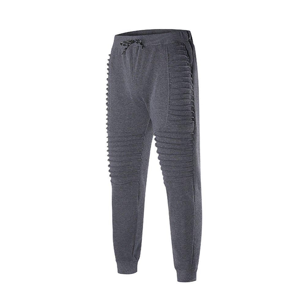 Spbamboo Mens Fashion Pants Sports Striped Lashing Belts Casual Solid Sweatpants by Spbamboo (Image #3)