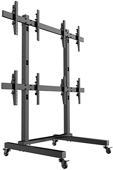 displays2go fw4255bkx4 rolling tv stand 4panel hdtv mount