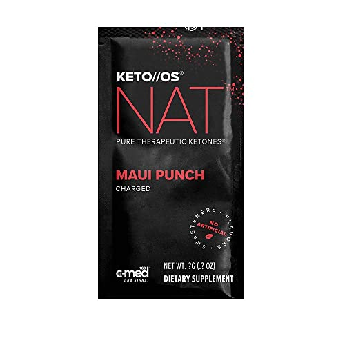 Pruvit Keto OS NAT CHARGED, BHB Salts Ketogenic Supplement - Beta Hydroxybutyrates Exogenous Ketones for Fat Loss, Workout Energy Boost Through Fast Ketosis. 20 Sachets Maui Punch