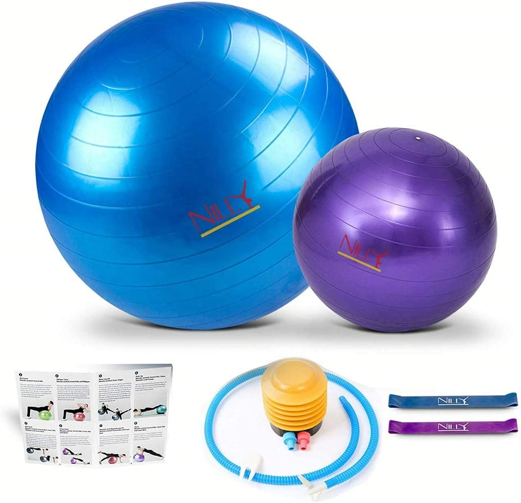 Nillygym Exercise Ball Set 5-Piece Incl. 2 Yoga Balls, Air Pump, 2 Resistance Bands. Promote Strength, Stability Balance with Low-Impact Support