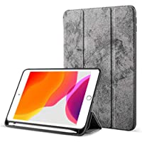 Robustrion Marble Series Trifold Hard Back Flip Case Cover with Pencil Holder for iPad 10.2 inch 7th Generation 2019 - Grey