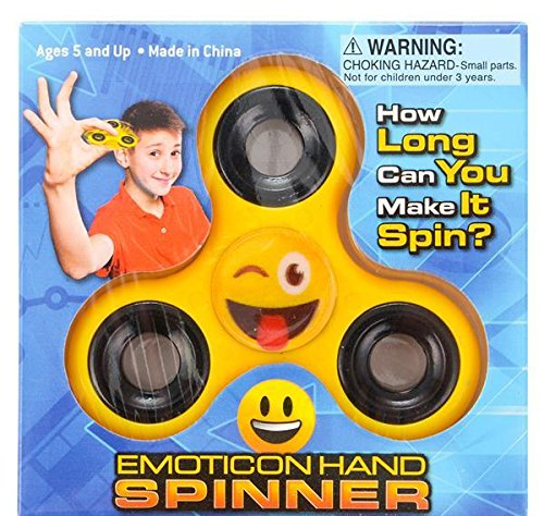 3'' EMOTICON HAND SPINNERS (YELLOW), Case of 6
