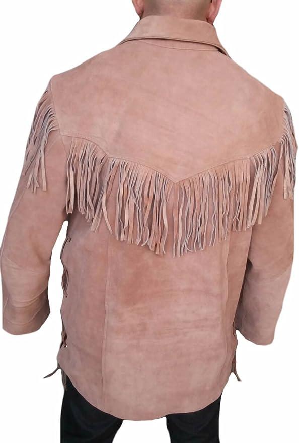 Classyak Western - Camisa de Piel de Ante con Flecos para ...