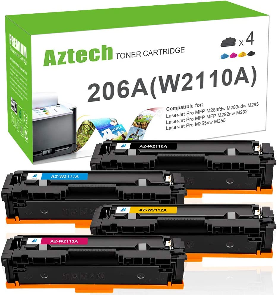 Aztech Compatible Toner Cartridge Replacement for HP 206A 206X W2110A W2110X HP Color Laserjet Pro M255dw MFP M283fdw M283cdw M283 M282nw M255 W2111A W2112A W2113A (Black Cyan Yellow Magenta, 4-Pack)