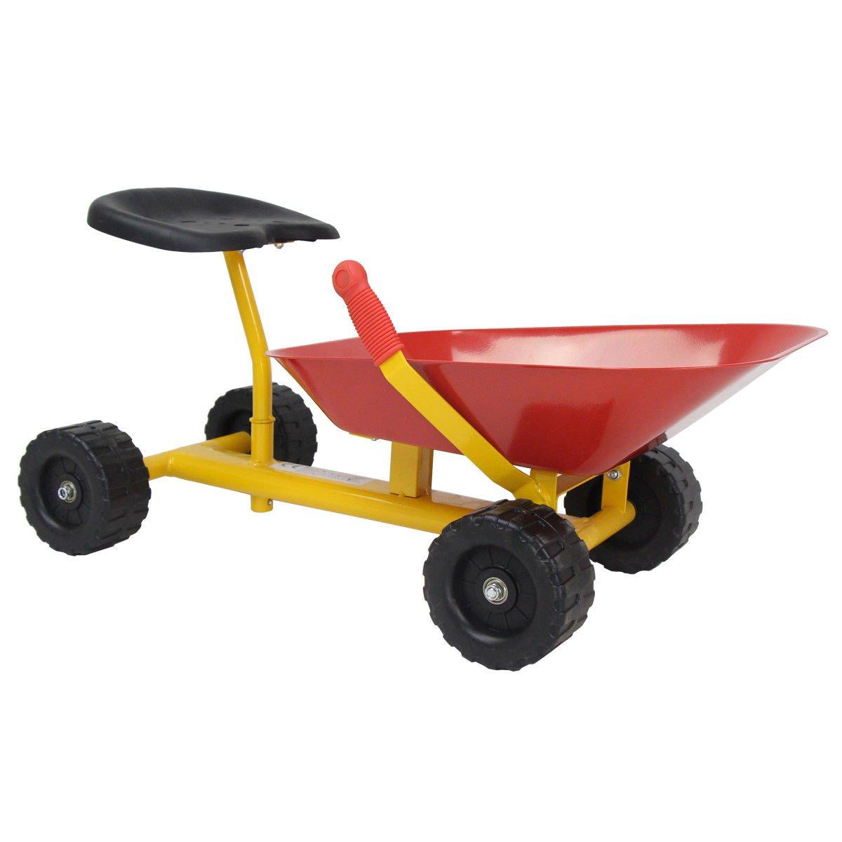 Costzon 8'' Kids Ride-on Sand Dumper, Outdoor Sandbox Toy, Heavy Duty Steel Digging Scooper Excavator Crane with 4 Wheels (Red) by Costzon