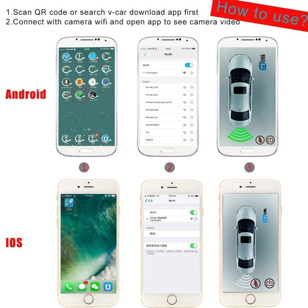 Z-SGJSQ Cam/éra de recul sans Fil et Moniteur cam/éra de Vue arri/ère de Plaque dimmatriculation /étanche,WiFi cam/éra en Temps r/éel vid/éo Mini Taille /étanche Nuit Vision iPhone//iPad et Android