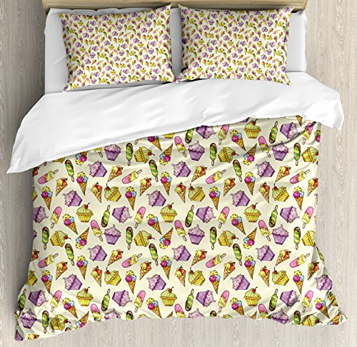 Ambesonne Ice Cream Decor Duvet Cover Set Queen Size, Yummy Cupcakes Chocolate Party Cherry Cones Fruit Sweet Kids Nursery Theme, Decorative 3 Piece Bedding Set with 2 Pillow Shams, Multicolor