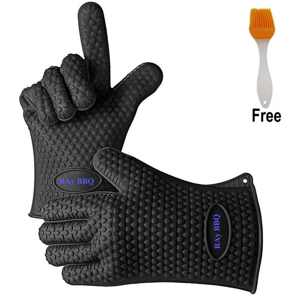 WifiHouse BBQ Oven Gloves,Kitchen Gloves Heat Resistant Best Heat Resistant Cooking Silicone Gloves for Barbecue Grilling Boiling, Full Finger, Hand, Wrist Protection