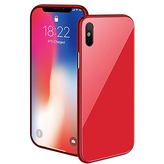 pretty nice db85a 608c6 iPhone X/XS Max/XS/XR Magnetic Case with Metal Frame Glass Back Case for  iPhone 10 Aluminum Alloy Tempered Glass with Built-in Magnet Flip Cover for  ...