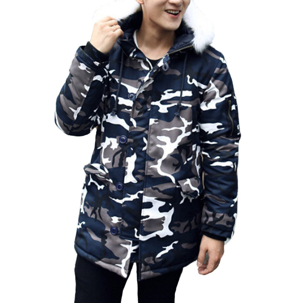 REYO Mens Coat Big Promotion Camouflage Winter Coat Thickening Cotton-Padded Jacket Outdoor Daily Tops Blouse