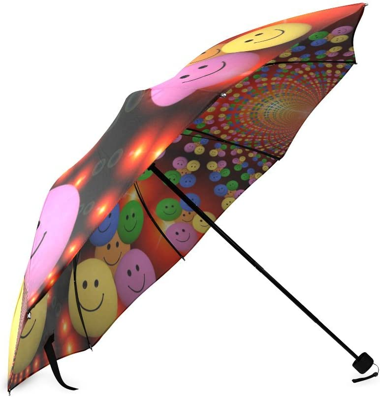 foldable Umbrella Custom Smiley Faces Compact Travel Windproof Rainproof