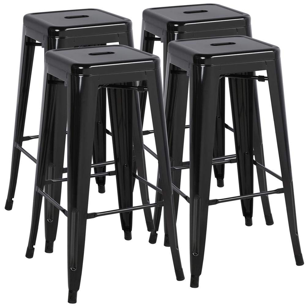 Yaheetech 30 Inches Metal Stools Barstools Set of 4 High Backless Stool Chairs Bar Height Stools Patio Furniture Indoor Outdoor Stackable Kitchen Stools Dining Chair, Black