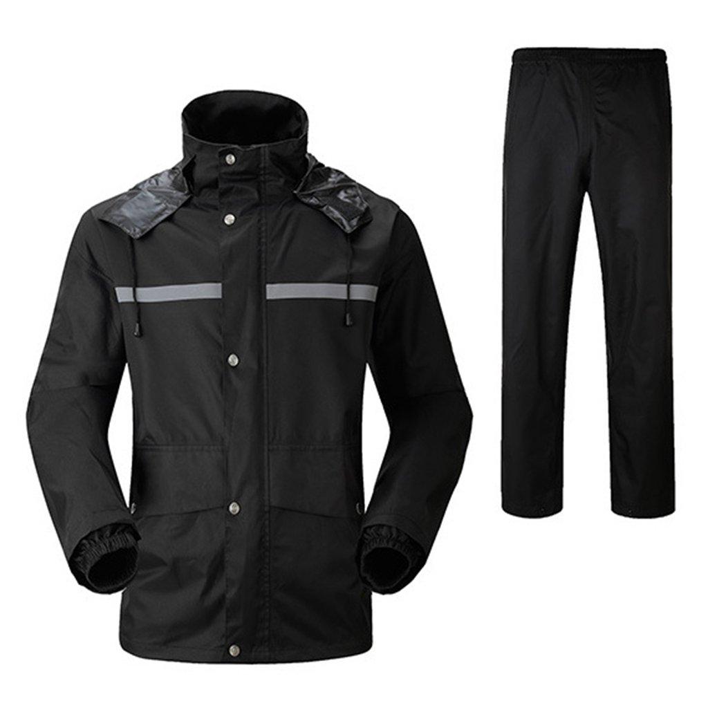 レインコート 上下セット 男女兼用 レインスーツ 通湿性 防水 軽量 二重構造 メッシュ付き 快適 高品質 自転車 バイク 通学 通勤に対応 アウトドア 全5色 Mー4XL B07D5Q3R71 XL|ブラック ブラック XL
