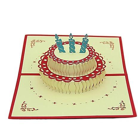 Amazon IShareCards Handmade 3D Pop Up Birthday Cards – Pop Up Birthday Cake Card