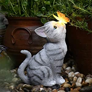 Garden Cat Statue,Outdoor Resin Statue,Cute Cat and Butterfly with Solar LED Lights Figurine Animal Sculpture, Solar Butterfly Cat Patio Lawn Yard Art Ornaments Figurines