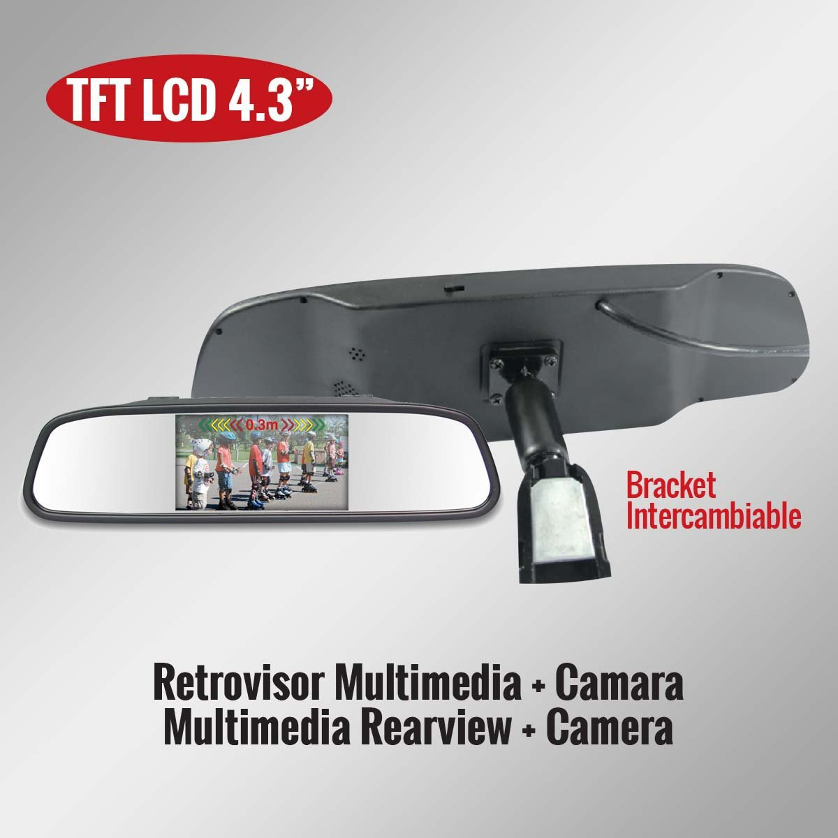 Genius G-VPS01-RB43SS TFT LCD Car Rearview Mirror Monitor 4.3'' Kit with Camera''Bracket Style''