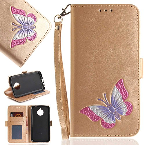 Moto E4 Plus Case, UNEXTATI Butterfly Embossing Design PU Leather Flip Wallet Cover Case with Card Holder for Moto E4 Plus (Gold #6)