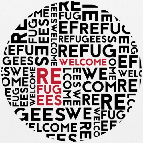 Spreadshirt Refugees Welcome Bio-Stoffbeutel Weiß