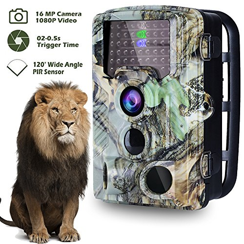 2018 NEW VERSIONTrail Camera 16MP 1080P 2.4 LCD Sensor Game & Wildlife Hunting Camera with Night Vision 46 PCS IR LED 850NM Upgrading IR LED Night Vision up to 65ft 120Wide Angle 0.2s Trigger