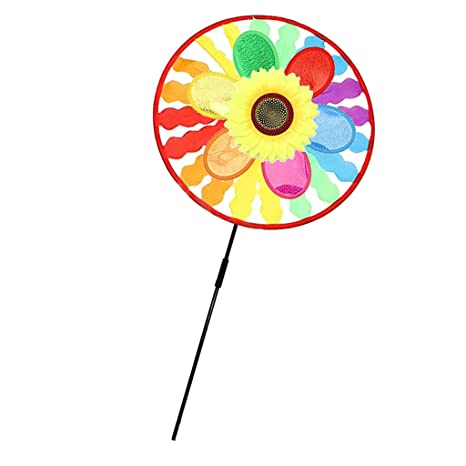 Bayougo Rainbow Windmill Wind windsocks Whirligig Wheel Windsocks Home Yard Camping Decor Outdoor Toy