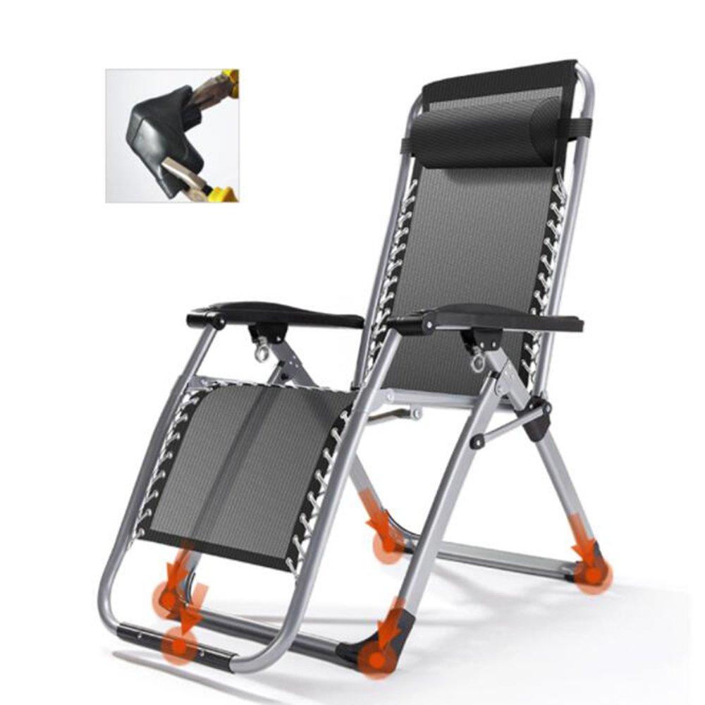 テラス 可能 無重力の椅子, リクライニング アームレスト付き ラウンジチェア 寝椅子 キャンプ ベッド 椅子ベッド パッド 折り畳み式 屋外 ヤード 庭 180x65cm black B07MB2CJM3