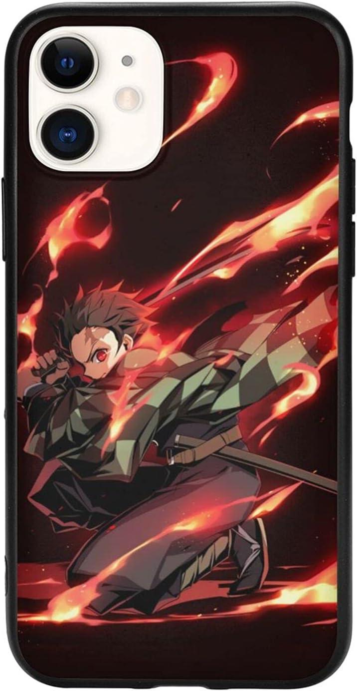 rilixuy De-mon SLA-yer TPU Soft Tanjirou Shell Phone Case for iPhone 11 Comic Cool Anime Theme Back Cover (6.1in)-4