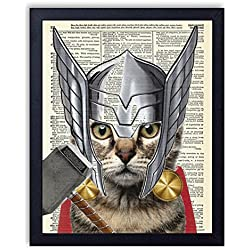Thor Cat Super Hero Vintage Upcycled Dictionary Art Print