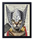 Thor Cat Super Hero Vintage Upcycled Dictionary Art Print 8x10 inches, Unframed