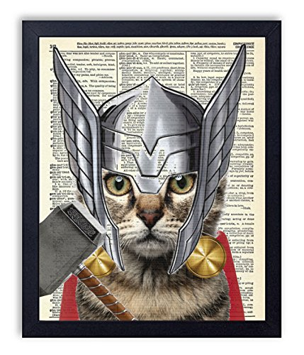 Thor Cat Super Hero Vintage Upcycled Dictionary Art Print 8x10 inches, Unframed by Vintage Book Art Co.